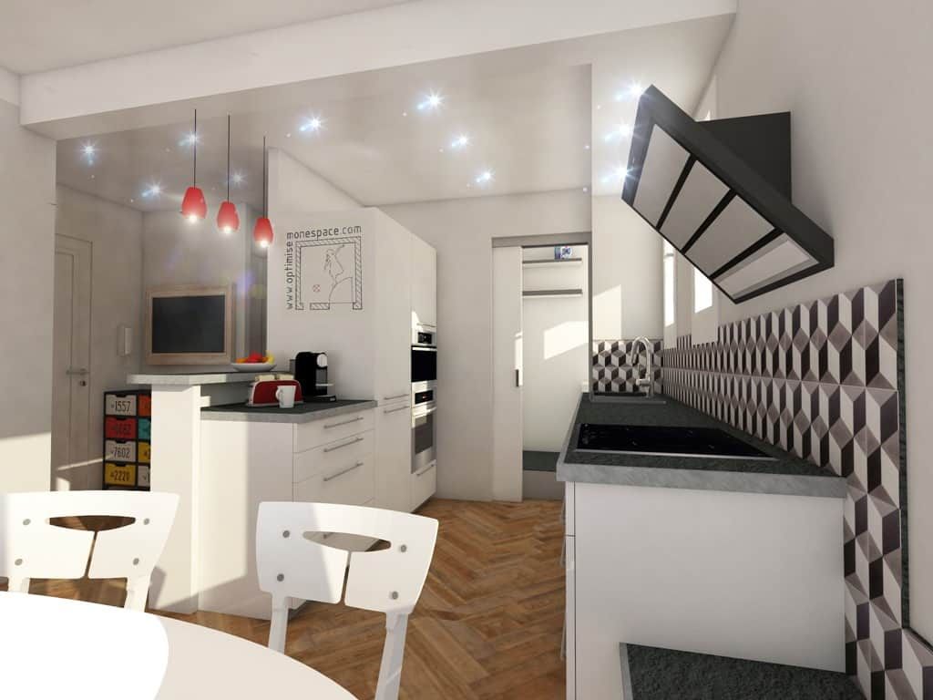 Cuisine ouverte sur salon 30m2 superb amenagement salon for Salon cuisine 30m2
