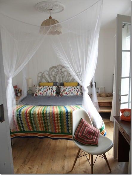 chambre parentale tête de lit en osier